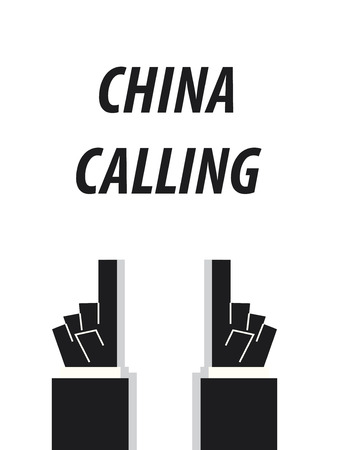 CHINA CALLING typography vector illustration