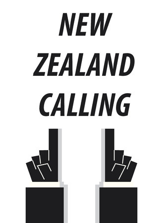 minister: NEW ZEALAND CALLING typography vector illustration