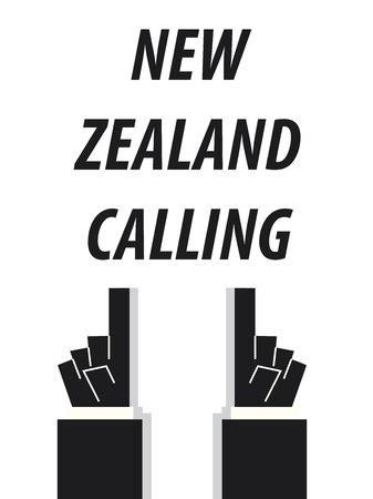 NEW ZEALAND CALLING typography vector illustration