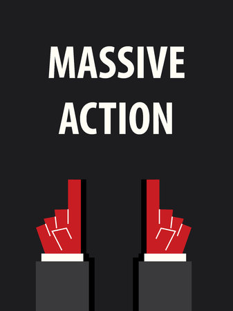 massive: MASSIVE ACTION typography vector illustration