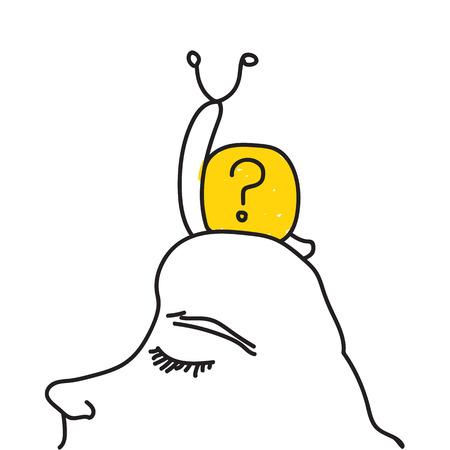 stimulation: Snail on face hand drawn