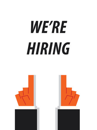 pay attention: WERE HIRING typography vector illustration