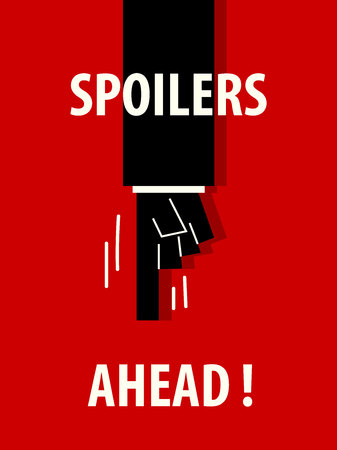 SPOILERS AHEAD typography vector illustration Ilustracja
