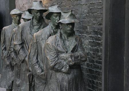 Soup Line Statue at FDR memorial Фото со стока