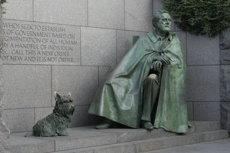 district of columbia: FDR statue at FDR Memorial Stock Photo