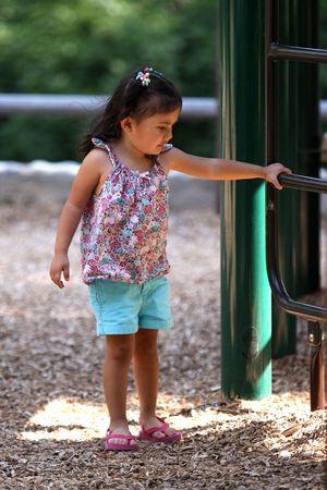 遊び場のはしごの上を保持している少女 写真素材 - 7511690
