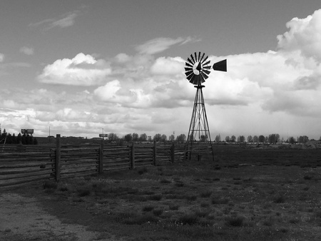 fence: Windmill in Wyoming