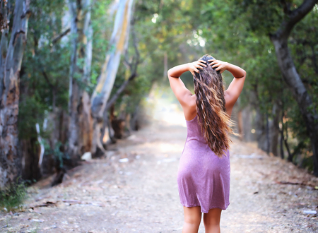 Girl looking at the trail ahead