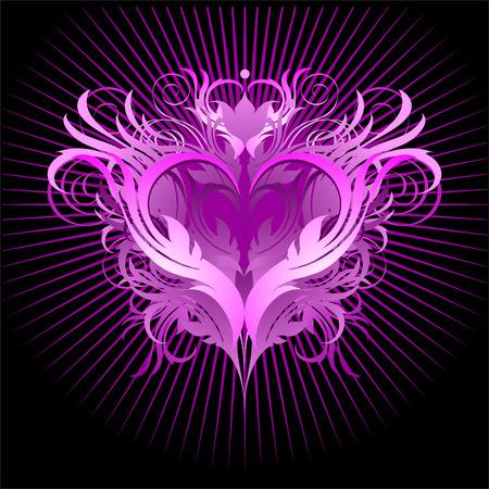 rosa negra: coraz�n rosa negro Vectores