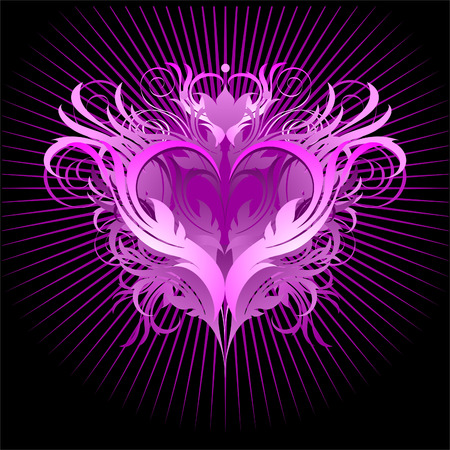 heart pink black Vector