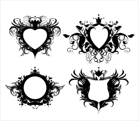 heart and crown: ornamentali scudi