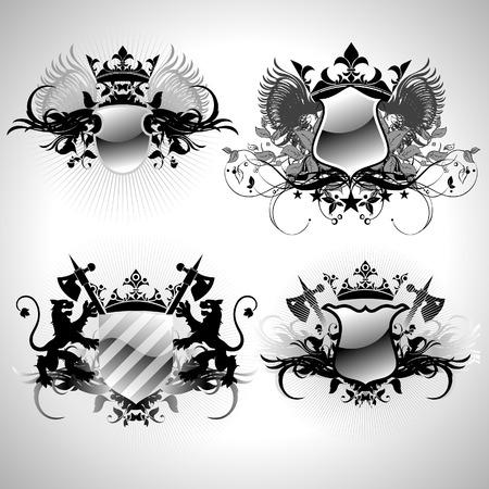 ornamental shields Illustration