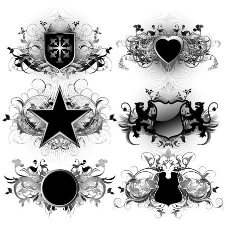 ornate shields Vector