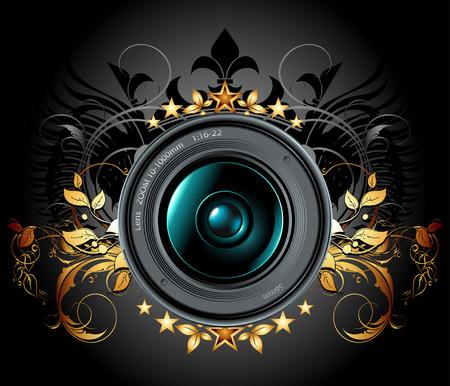camera lens: camera-lens met decoratieve elementen  Stock Illustratie