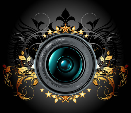 lens: camera lens with ornamental elements Illustration