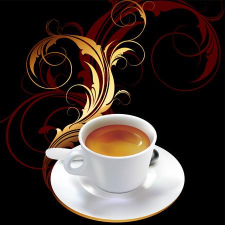 hot chocolate drink: taza de caf� con elementos decorativos