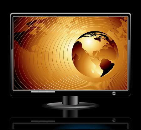 LCD-Panel mit Welt-Hintergrund Illustration