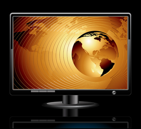 golden globe: LCD panel with world background Illustration