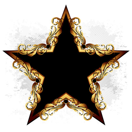 golden shield: star with floral elements