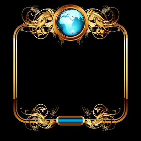 geography background: world with ornate Illustration