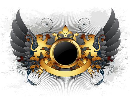 lion wings: Escudo ornamental  Vectores