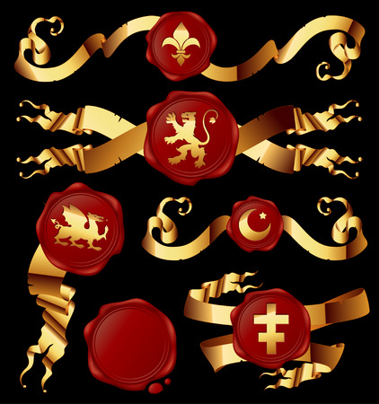set of gold ribbons with heraldic seales Vector