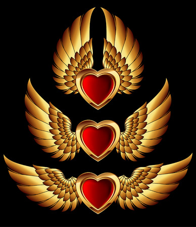 heart wings: heart forms with golden wings Illustration