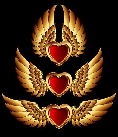 hart vormen met gouden vleugels