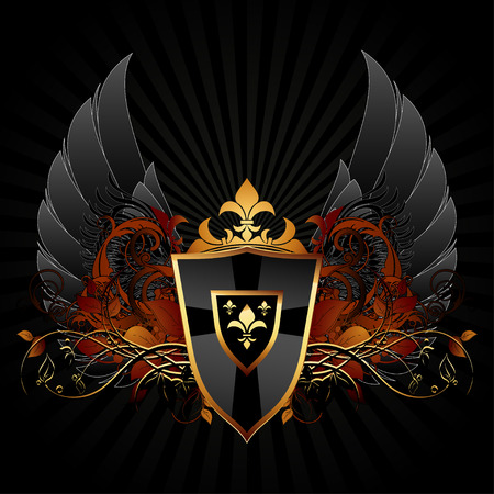 shield with wings: ornamental shield