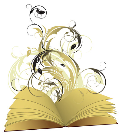 book open with floral