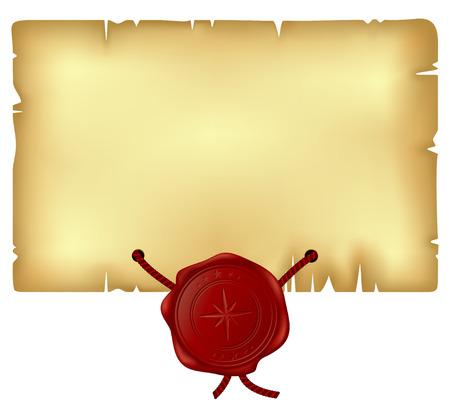 parchment texture: carta con sigillo di cera  Vettoriali