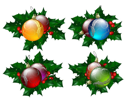 hollyberry: christmas balls set with hollyberry