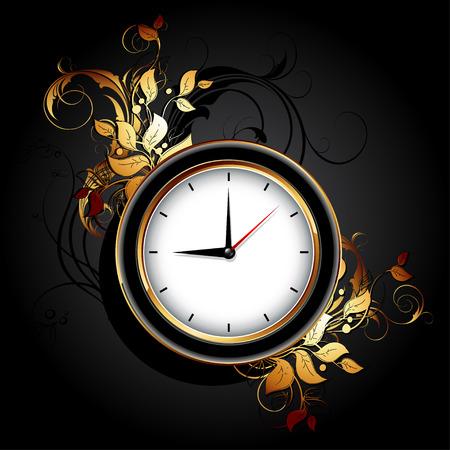 quartz: web icon clocks with floral elements Illustration