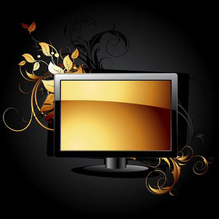 web icon LCD panel with floral elements Stock Vector - 8976659