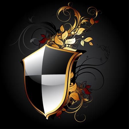 bouclier d'icône web avec des éléments floraux Vecteurs
