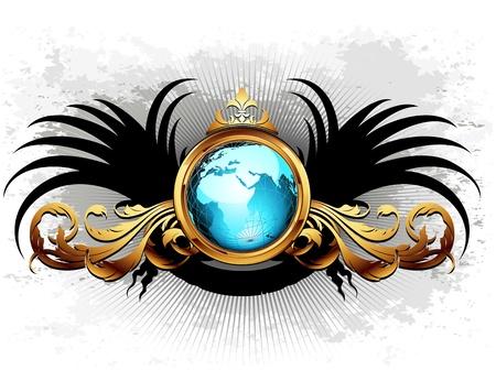 grunge wings: mondo con telaio ornato Vettoriali