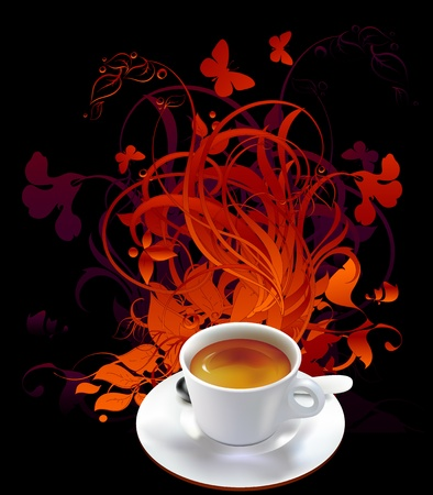 cup of coffee with floral elements Stock Vector - 9497378