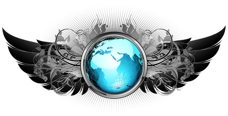 world with ornate frame Illustration