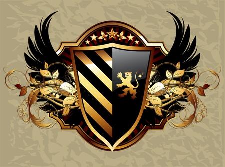 lion wings: ornamental shield