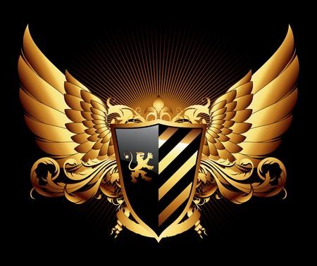 lion wings: Escudo ornamental