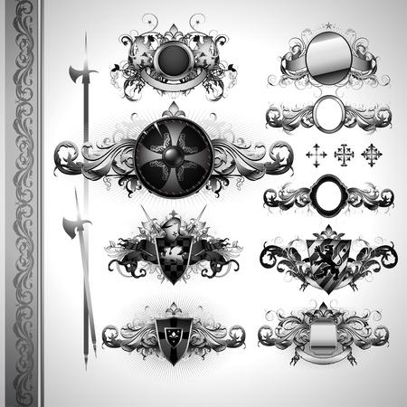 mittelalterlichen Heraldik Schilde Illustration
