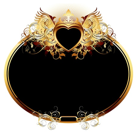 ornate frame with golden heart