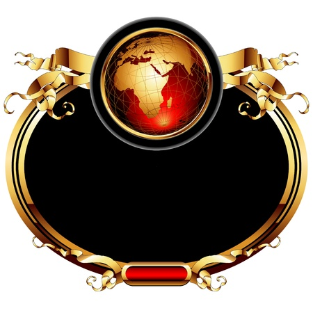 geography background: world with ornate frame Illustration