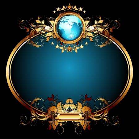 oval shape: world with ornate frame Illustration