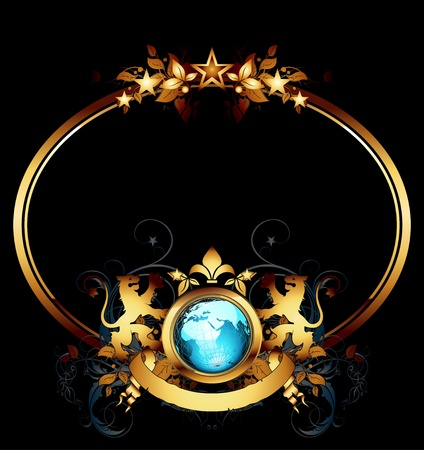 oval: world with ornate frame Illustration