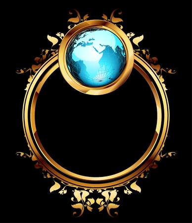 world with ornate frame Vector