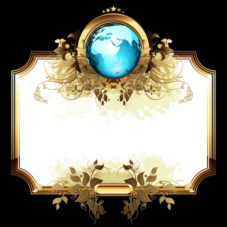 world with ornate frame  イラスト・ベクター素材