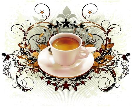 hot chocolate drink: Copa de coffwee con elementos recargados