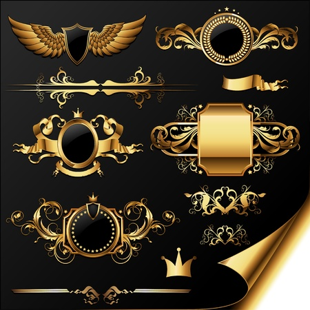 wings icon: set of ornamental golden labels Illustration