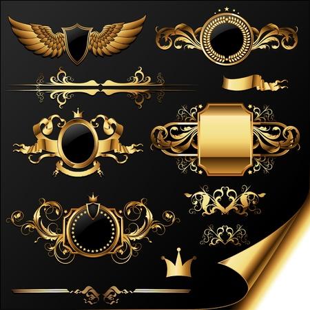 shield wings: set of ornamental golden labels Illustration